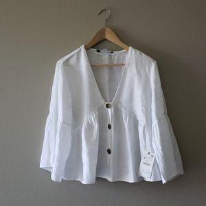 Zara White Linen Top Medium